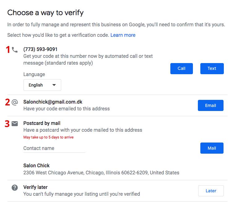 google my business verification options