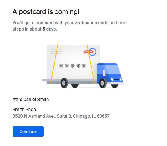 verification postcard example